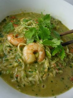 Spicy Chilli Coconut Prawn Soup with Kohlrabi Noodles