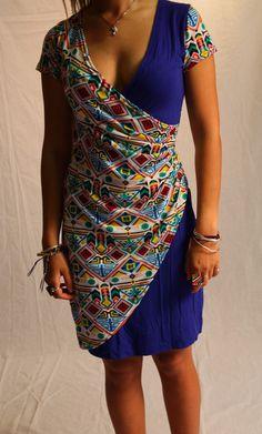 Traum Jersey Kleid blau bemustert -neu- von Mother Earth auf DaWanda.com