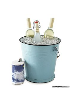 Place wine or other bottles in a bucket; add a layer of ice, followed by a layer of salt (coarse or table); repeat until you almost reach the top. Fill the bucket with cold water to just below the ice line. The water in the ice bucket will be colder than normal, chilling the libations in less than 10 minutes.