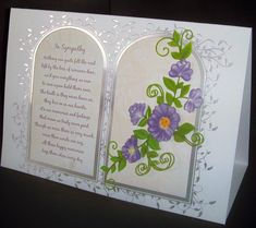 A double arch with a verse and floral spray. I Card, Arch, Memories, Feelings, Frame, Floral, Wedding, Life, Memoirs