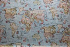 NEW World Map Blue Print with stamps 100 cotton by TheFabricShopUK, £13.99