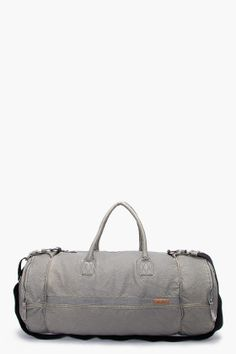 "Nice ""duffle bag"" in light gray. Very simple and #classic. [Accessories for a man - http://berryvogue.com/mensaccessories]"