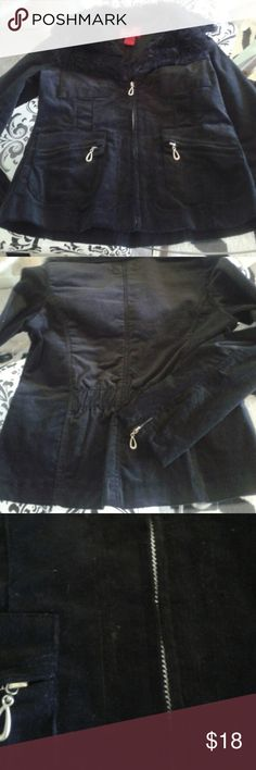 Black cord jacket, faux fur collar. Fine soft cordaroy. Fitted short not cropped. I cannot find size on it. I am medium and it is snug so listed as small. So cute on. It has a little flaw in front shown in last pic. Jackets & Coats