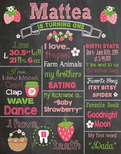 First Birthday Chalkboard Printable Poster by RusticRosebudDesigns
