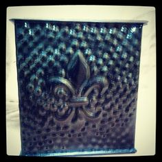 Black Hammered Square Fleur de Lis Tissue Box Cover