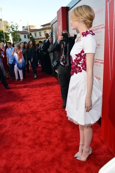 58f03bc7ac93f Chanel Resort 2013 White Dress With Red Embroidery   Christian Louboutin  Just Piks Heels Abiti Del