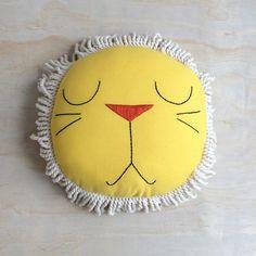 Image of Yellow Sleeping Lion Pillow