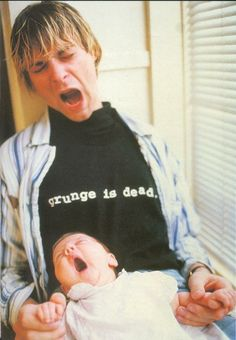 Kurt Cobain and baby Frances. She gained her father's lovely eyes and indelible artistic talent.