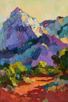 Painting of a mountain, love the colours