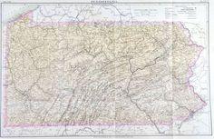 Pennsylvania Antique Map 1885