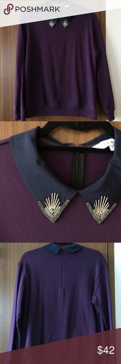 Sandro Beaded Collar Sweatshirt Sandro aubergine sweatshirt with silk beaded collar detail. Size 2, fits like a S-M. Super cute with jeans! Sandro Sweaters