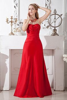 Red A-line Strapless Floor-length Taffeta Bridesmaid Dress Creator with Ruches Inexpensive Bridesmaid Dresses, Cheap Prom Dresses, Prom Party Dresses, Cheap Wedding Dress, Quinceanera Dresses, Taffeta Bridesmaid Dress, Spring Bridesmaid Dresses, Strapless Party Dress, Bridal Dresses