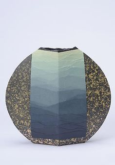 """Rising Sea  2008  Stoneware with colored-clay overlays  12 x 12 7/8 x 4 1/8""""  Inv# 6001"""