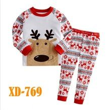 Baby Girls Xmas Deer Clothing Set Kids Casual Style Pajamas Sets Wholesale Children Cartoon Sleepwear Christmas Clothes XD-769(China (Mainland))