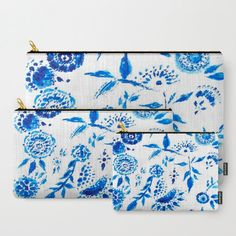 A personal favorite from my Etsy shop https://www.etsy.com/listing/491613367/blue-white-floral-pouch-floral-makeup