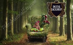 Digital Mossy Chair Newborn Backdrop Green Forest Photoshop element Photography props
