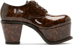 J.W.Anderson Brown Tortoiseshell Patent Platform Derby Shoes