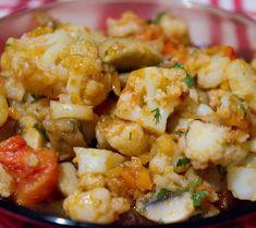 Iahnie de ciuperci cu conopidă Vegan Lifestyle, Cauliflower, Shrimp, Yummy Food, Meat, Vegetables, Recipes, Kitchen Ideas, Canning