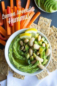 Lemon Avocado Hummus Recipe. Makes a great healthy appetizer, afternoon snack, or sandwich spread! via @fANNEtastic food
