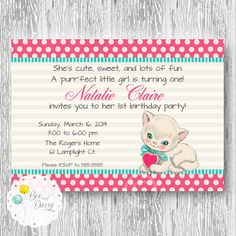 Vintage Kitten Invitation for Birthday Party or Baby Shower - Girls Cat DIY Printable Invite by BeeAndDaisy
