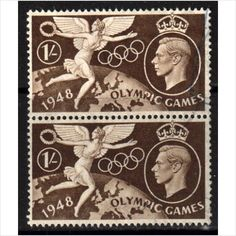 GB Scott 274 - SG498, 1948 Olympic Games 1/- Pair used stamps sur le France de eBid