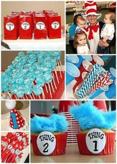 Seuss Party Ideas for Baby Shower and Birthday Dr Seuss Party Ideas, Dr Seuss Birthday Party, Joint Birthday Parties, Baby First Birthday, Birthday Party Themes, Birthday Ideas, Birthday Fun, Dr. Seuss, 2nd Baby Showers