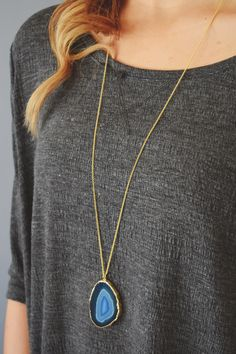 Forget Me Not Agate Slice Necklace