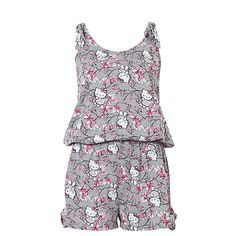 Hello Kitty Short Jumpsuit Item Code 55138734 A cute Hello Kitty jumpsuit. Featuring adjustable shoulder ties, an elastic waist and ties with gathering on the legs. Materials and Composition Polyester / Viscose