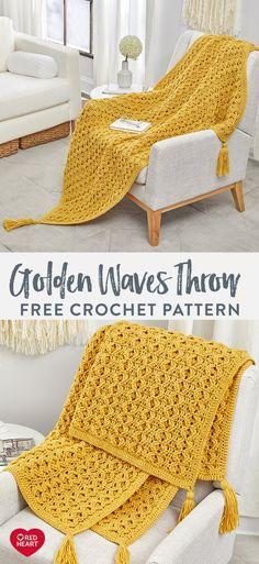 Golden Waves Throw free crochet pattern in Red Heart Classic yarn. Crochet Afghans, Crochet Motifs, Afghan Crochet Patterns, Crochet Stitches, Stitch Patterns, Knitting Patterns, Crochet Throws, Crochet Mug Cozy, Easy Crochet