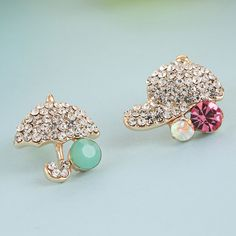Lovely Asymmetric #Earrings, Umbrella, with #rhinestone, more colors.