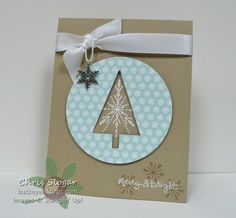 Chris' CAS card: Many Merry Stars, Good Greetings (hostess), Nordic Noel, Tree Punch, All is Calm Snowflake embellishment, & more. All supplies from Stampin' Up!