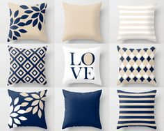 NAVY throw pillows, pillow covers, cushion cover, home decor, mix and match, navy beige white, love, floral, geometric, decorative pillows - HLB Home Designs