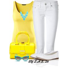 A fashion look from August 2013 featuring yellow tank top, True Religion y ballet flats. Browse and shop related looks.