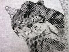 Cat (Blackwork by Elizabeth Bond. Royal School of Needlework).