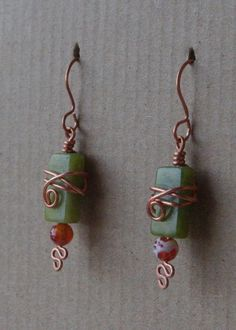 Love the wrapping on these -   Fun earrings wire wrapped copper green by SeriousGooseDesigns, $18.00