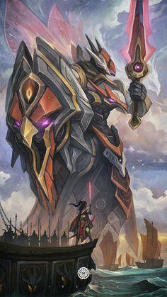 Leona League Of Legends, Champions League Of Legends, League Of Legends Characters, Robot Concept Art, Robot Art, Character Concept, Character Art, Character Design, Dark Fantasy Art