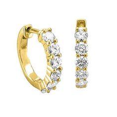 14k Yellow Gold 6 Stone Hoop Diamond... $579.99 #bestseller