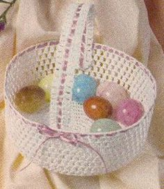 """Free Pattern Crochet Large Basket. Approximately 7 ½"""" across x 3"""" deep. Cotton crochet (reminds me of making doilies, looks fairly easy). Handle glued on, not good for kids to carry--decorative."""