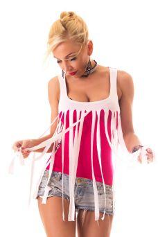 SYL rojtos pink-fehér női felső