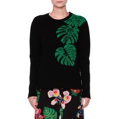 Valentino Cashmere Palm Intarsia Pullover Sweater (1.333.135 CLP) ❤ liked on Polyvore featuring tops, sweaters, j.crew cashmere sweaters, intarsia sweater, crewneck sweaters, valentino sweaters and pure cashmere sweaters
