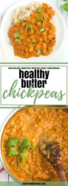 This Healthy Butter Chickpeas recipe is a lighter, vegan take on an Indian classic - Butter Chicken. This curry recipe is easy to make and delicious made with chickpeas, coconut milk and a secret ingredient. Made gluten free, dairy free and complete vegetarian this homemade spicy dish is the perfect dinner for any night of the week when served over rice.