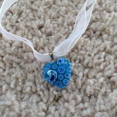 Childs Choker Double ribbon choker with a blue, stone heart. Sized for a child's neck, about 11 years old. Jewelry Necklaces