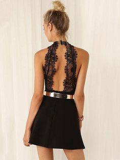 V-neck Open Back Lace Short Sleevees Short Dress