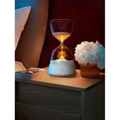 Color Change 15 Minutes Sand Clock with LED Night Light - WHITE