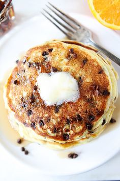 Orange Ricotta Chocolate Chip Pancake Recipe by @Maria Canavello Mrasek (Two Peas and Their Pod)