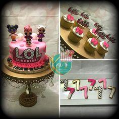 LOL Surprise! #lolsurprisebirthday#lolsurprisefever#cake#cupcakes#cookies#puertoricancakes#byme#myjob#birthdaygirl#birthdayparty#pink#dots#gold#fondant#keisyummycakes