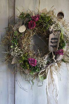"Door Wreaths – Door Wreath ""Country Magic …"" – a unique product by Hoimelige … - Garden Decoration Mesh Wreath Tutorial, Diy Wreath, Wreath Ideas, Deco Mesh Wreaths, Door Wreaths, Easter Wreaths, Christmas Wreaths, Wreath Forms, Summer Wreath"