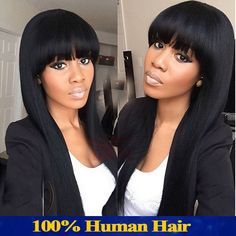 cheap long brazilian human hair wig full lace wigs african american with beauty bangs glueless human hair wig free shipping