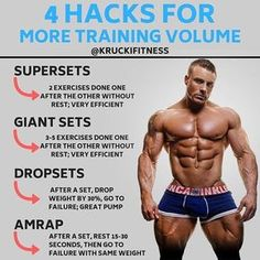When you need more training volume, there's a few simple ways to implement them into your workout. Here's some ways I like to go about it. SUPERSETS: This is simply where you perform 2 exercises one right after the other without rest. This is very efficie Fitness Workouts, Weight Training Workouts, Fitness Tips, Fitness Motivation, Bodybuilding Motivation Quotes, Body Weight Training, Weight Lifting, Weight Loss, Bodybuilding Training