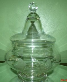 Antique Apothecary Jar with Etched Flower Vine by Great1Treasure, $10.99